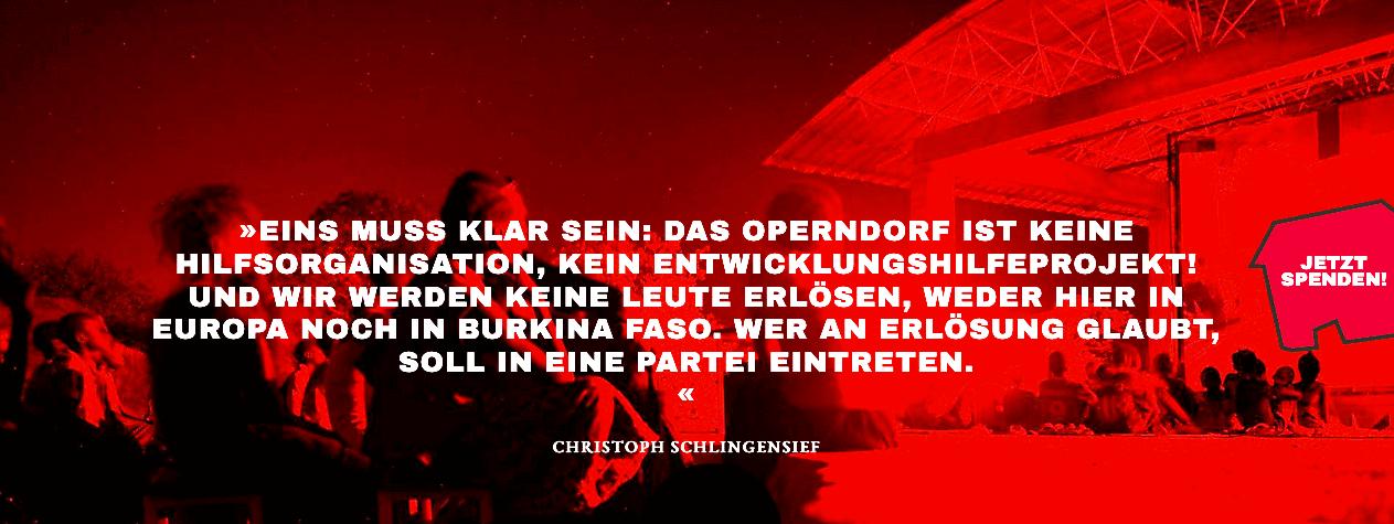 """alt=""""Das Operndorf Afrika ist kein Entwicklungshilfeprojekt, sagt Schlingensief"""""""